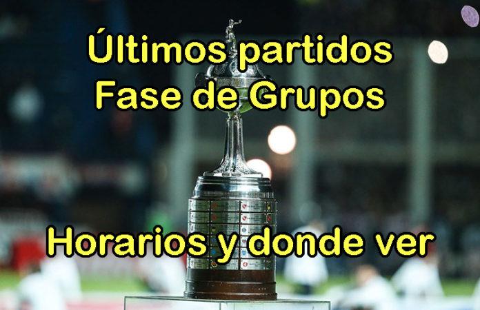 últimos partidos fase grupos horarios donde ver copa libertadores 2018